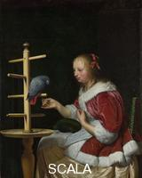 Mieris, Frans van the Elder (1635-1681) A Woman in a Red Jacket feeding a Parrot, about 1663