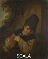 Ostade, Adriaen van (1610-1685) A Peasant holding a Jug and a Pipe, about 1650-5