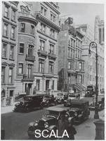 ******** Facade of original townhouse housing The Museum of Modern Art at 11 West 53rd Street, showing a Calder mobile displayed during the exhibition 'Cubism and Abstract Art' (March 2, 1936 through April 19, 1936)