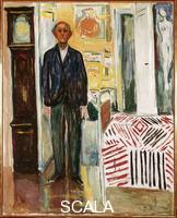 Munch, Edvard (1863-1944) Self-Portrait between Clock and Bed