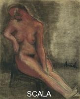******** Permeke, Constant (1886-1952). Nude Redhead Sitting on a Chair; Nu Rouge Assis sur une Chaise.
