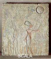 Egyptian art Amenhotep IV (Akhenaten) and his family presenting offerings to Aton, from Tell el-Amarna