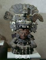 Zapotec art Urn with man wearing a jaguar-shaped hat; from Monte Alban (Mexico), 1499-300 BCE