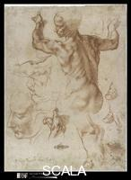 Michelangelo (Buonarroti, Michelangelo 1475-1564) Studies for the Libyan Sibyl (recto); Studies for the Libyan Sibyl and a small Sketch for a Seated Figure (verso), 1508-12