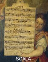******** Sheet music for alto and bass from Magnificat for 4 voices composed by Cornelis Verdonck (1563-1625), by the Flemish artist Maarten de Vos (1532-1603).