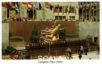 ******** Rockefeller Plaza Center, New Your City, New York, USA, 1956. Vintage postcard showing the plaza of the Rockefeller Center, with the colourful flags of the United Nations and Paul Manship's statue of Prometheus bearing his gift of fire to mankind. The Art Deco Rockefeller Center complex is made up of several buildings, fourteen of them built between 1931 and 1939. American industrialist John D Rockefeller (1839-1937) financed the project.