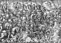 ******** Battle of Grunwald or First Battle of Tannenberg, between Polish-Lithuanian and Teutonic knights, fought in 1410, engraving taken from The Garden of the King, 1599, by Bartholomew Paprocki (1543-1614). Poland, 15th century.