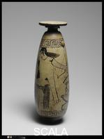 Painter of New York 21.131 (6th cent.) Terracotta alabastron (perfume vase). Greek, Attic. Archaic, ca. 510-500 B.C.E - view 1