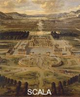 Patel, Pierre the Elder (c. 1605-1676) View of Versailles Palace and its gardens, 1668. Details.