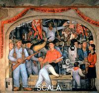 Rivera, Diego (1886-1957) Distributing Arms (El arsenal), 1928. Mural, 2.03 x 3.98 m. Court of Fiestas, Level 3, South Wall.