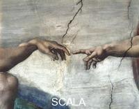 Michelangelo (Buonarroti, Michelangelo 1475-1564) Center of the ceiling: Creation of Adam - detail (the hands) [before restoration]