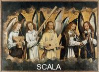 Memling, Hans (1425/40-1494) Angels with Musical Instruments: Psaltery, Trumpet Marine, Lute, Small Trumpet and Flute