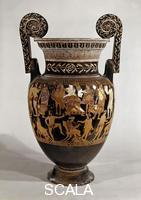 Greek art Attic krater with satyrs preparing to stage a play