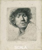 Rembrandt van Rijn (1606-1669) Self-Portrait with open mouth and eyes wide open, 1630