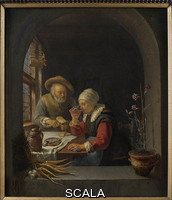 Mieris, Frans van the Elder (1635-1681) Old Couple at Table, 1655-1660