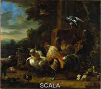 Hondecoeter, Melchior de (1636-1695) Landscape with Poultry and Birds of Prey