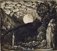 ******** Shepherds under a Full Moon. Shepherds under a Full Moon. Samuel Palmer. Samuel Palmer - Pen and brown ink with brush in India ink heightened with bodycolour on white card. 1830