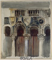 ******** Casa Loredan, Venice. Casa Loredan, Venice, Italy. Ruskin, John. Ruskin, John - Watercolour, bodycolour and pen and ink over graphite on pale grey wove paper. 1845