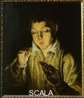 El Greco (Theotokopulos, Domenico 1541-1614) Boy Blowing on a Glowing Coal (sofion)