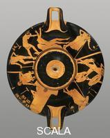 Foundry Painter (5th cent. BCE) Attic kylix with scenes from a foundry - Production of two bronze statues (full outside view), 490-480 b.C