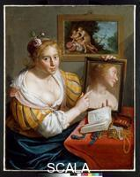 Moreelse, Paulus (1571-1638) A girl with a mirror, an allegory of Profane Love. 1627