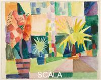******** Garden on Lake Thun (Pomegranate Tree and Palm in the Garden), 1914. Found in the collection of the Albertina, Vienna. Artist: Macke, August (1887-1914)