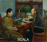 ******** Lenin and Stalin, 1938. Found in the collection of the State Museum- and exhibition Centre ROSIZO, Moscow. Artist: Shestopalov, Nikolay Ivanovich (1875-)