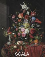 ******** Flowers in a glass vase on a draped table, with a silver tazza, fruit, insects and birds. From a private collection. Artist: Heem, Jan Davidsz. de (1606-1684)