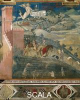 Lorenzetti, Ambrogio (1285-c. 1348) Effects of Good Government in the Country - detail (hunters)
