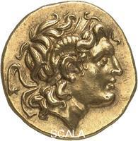 Hellenistic art Greek gold coin (stater) of Lysimachus Coin Lords. about 297-281 BC Obverse: Head of Alexander III. with diadem and horn of Ammon. Place of Origin: Lysimachia (Thrace)
