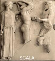 Greek art Metope of the temple of Zeus with Heracles supporting the vault of the sky