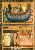 Berlinghieri, Bonaventura (1235-1274), attr. Saint Francis and Scenes from His Life - detail (The Saving of a Ship and Canonization of the Saint)