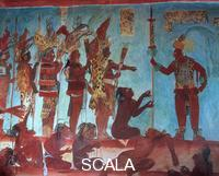 Maya art Recontruction of the room n. 3 with scene of war - d. (punishment of prisoners), prov. Bonampak