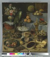 Flegel, Georg (1563-1638) Great Food Display with Parrot