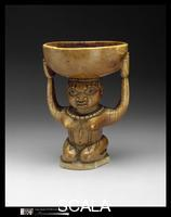 Nigerian art Ifa Divination Vessel: Female Caryatid (Agere Ifa). Yoruba, Owo group, 17th–19th century. Front from left