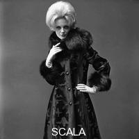 French, John (1907-1966) Twiggy in a fur coat. London, England, 1963