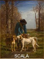 Troyon, Constant (1810-1865) Garde-chasse arrete pres de ses chiens - Gamekeeper stops near his dog. 1854