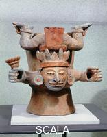 Maya art Container with deity with flowers of mais