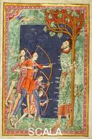 ******** M. 736, Life, Passion, and Miracles of St. Edmund, King and Martyr, f.14: Saint Edmund pierced by Arrows Shot by Six Danes. England (Bury St. Edmund's), c. 1130.