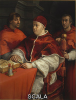 Raphael (1483-1520) Portrait of Leo X with Cardinals Luigi de' Rossi and Giulio de' Medici