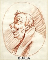 ******** Caricature, head of a man, in profile to left, with an up-turned nose, laughing, after Carlo Maratti (Maratta), within an oval. Drawn by: Hugh Howard, 1675-1738