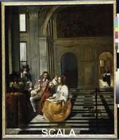 Hooch, Pieter de (1629-1681) Musical company in an Elegant Hall, 1666-68
