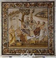 Roman art Mosaic panel with seven philosophers, so called Academy of Plato