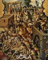 ******** Screen with scenes of the spanish conquest: Battle at Tenochtitlan