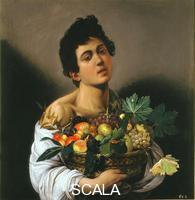 Caravaggio (Merisi, Michelangelo da 1571-1610) Young Man with Basket of Fruit. 1593-1594