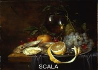 Son, Joris van (1623-1667) A Roemer, a Peeled Half Lemon on a Pewter Plate, Oysters, Cherries and an Orange on a Draped Table. The picture is a version of a Cornelis de Heem painting of 1649 in the Hermatage.