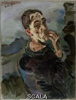 Kokoschka, Oskar (1886-1980) Selfportrait Oskar Kokoschka, with Hand by his face, 1918-1919