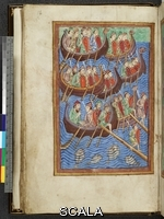 ******** Ms. M. 736, Life, Passion and Miracles of St. Edmund, King and Martyr, Latin, f.9v: Invasion of Danes under Hinguar (Ingvar) and Hubba. England (Bury St. Edmund's), c. 1130