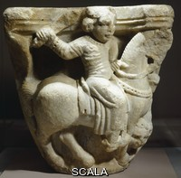 ******** Capital depicting a knight winning entrance to a city, marble relief. Palestinian Art, 12th Century.
