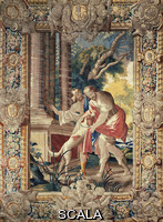 ******** Ulysses' return to Ithaca: his dog, Argos, recognizes him, 17th century tapestry based on a cartoon by Simon Vouet, manufacture of Amiens, from the series Stories of Ulysses.